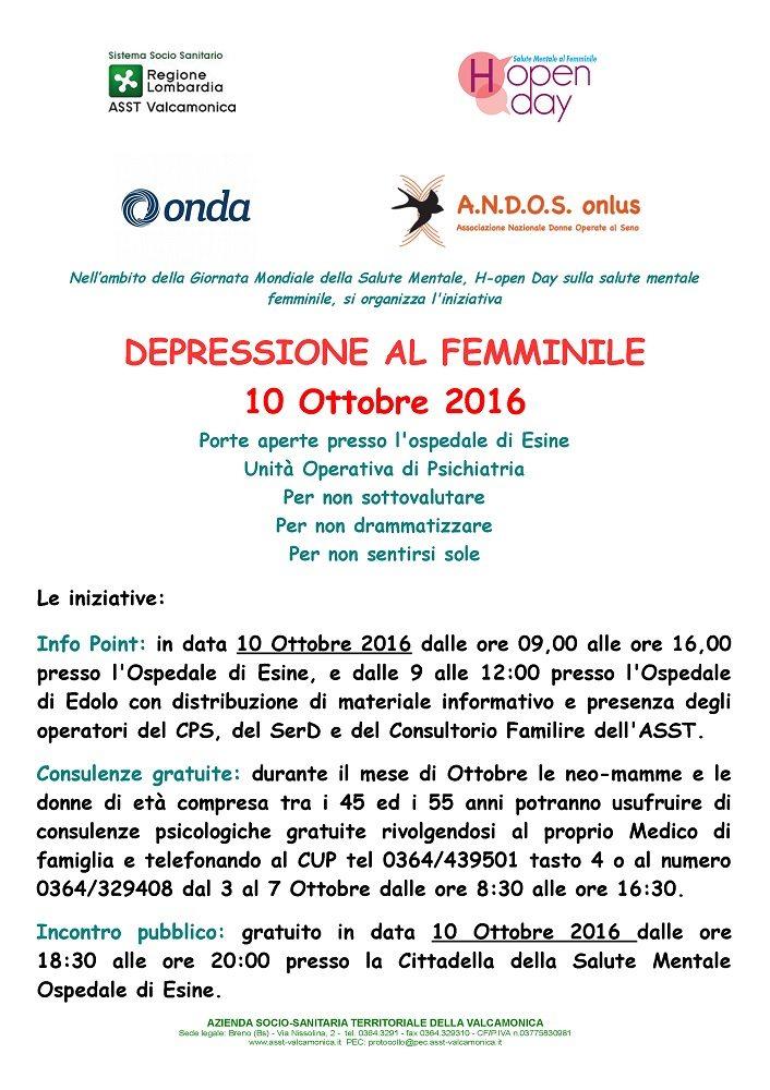 "LUNEDÌ 10/10/2016: INIZIATIVA ""DEPRESSIONE AL FEMMINILE"""